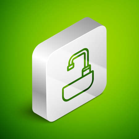 Isometric line Washbasin with water tap icon isolated on green background. Silver square button. Vector Illustration.