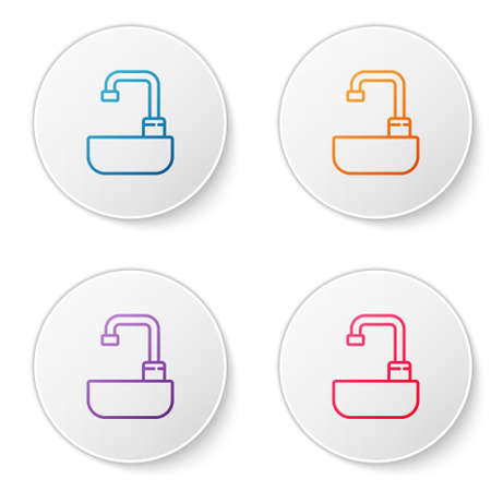 Color line Washbasin with water tap icon isolated on white background. Set icons in circle buttons. Vector Illustration. Illusztráció