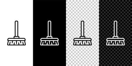 Set line Handle broom icon isolated on black and white background. Cleaning service concept. Vector Illustration.
