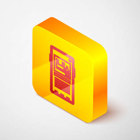 Isometric line Stop plastic pollution icon isolated on grey background. Ecological poster. Yellow square button. Vector Illustration.