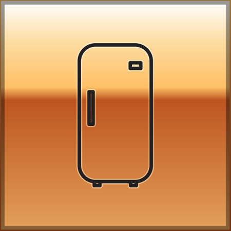 Black line Refrigerator icon isolated on gold background. Fridge freezer refrigerator. Household tech and appliances. Vector Illustration.