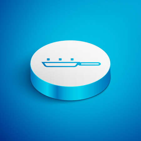 Isometric line Frying pan icon isolated on blue background. Fry or roast food symbol. White circle button. Vector Illustration.