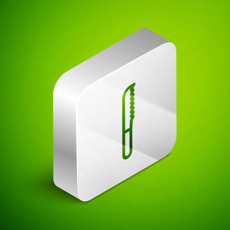 Isometric line Bread knife icon isolated on green background. Cutlery symbol. Silver square button. Vector Illustration.