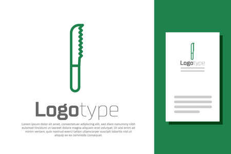 Green line Bread knife icon isolated on white background. Cutlery symbol. Logo design template element. Vector Illustration.
