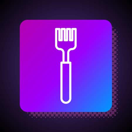 White line Fork icon isolated on black background. Cutlery symbol. Square color button. Vector Illustration. Illusztráció
