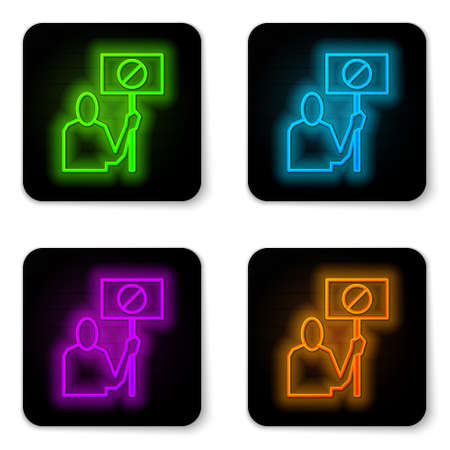 Glowing neon line Nature saving protest icon isolated on white background. Earth planet protection, environmental issues demonstration. Black square button. Vector Illustration. Ilustrace