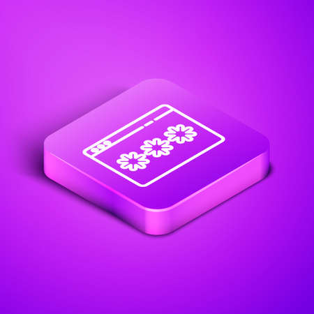 Isometric line Password protection and safety access icon isolated on purple background. Security, safety, protection, privacy concept. Purple square button. Vector Illustration.