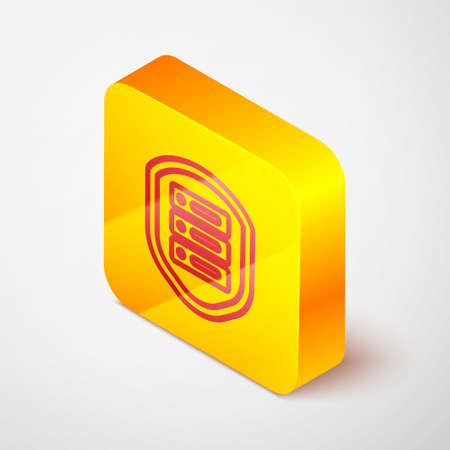 Isometric line Server with shield icon isolated on grey background. Protection against attacks. Network firewall, router, switch, data. Yellow square button. Vector Illustration.