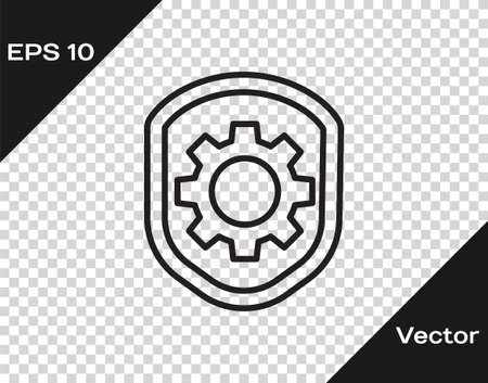 Black line Shield with settings gear icon isolated on transparent background. Adjusting, service, maintenance, repair, fixing. Vector Illustration.