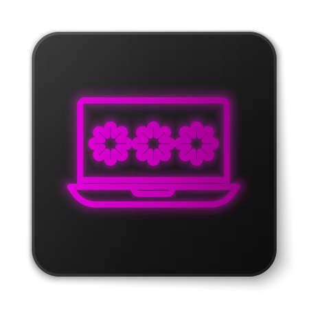 Glowing neon line Laptop with password notification icon isolated on white background. Security, personal access, user authorization, login form. Black square button. Vector Illustration. Ilustrace