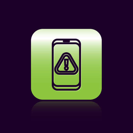 Black line Mobile phone with exclamation mark icon isolated on black background. Alert message smartphone notification. Green square button. Vector Illustration. Ilustração