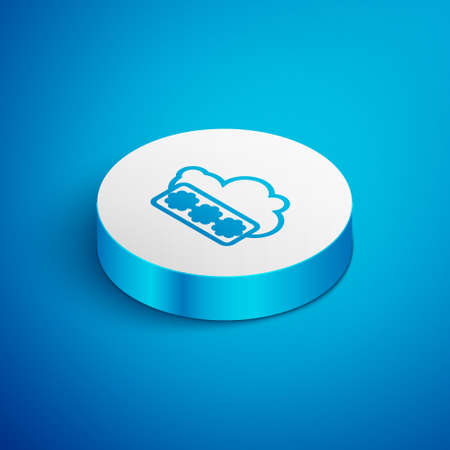 Isometric line Password protection and safety access icon isolated on blue background. Security, safety, protection, privacy concept. White circle button. Vector Illustration. Ilustrace