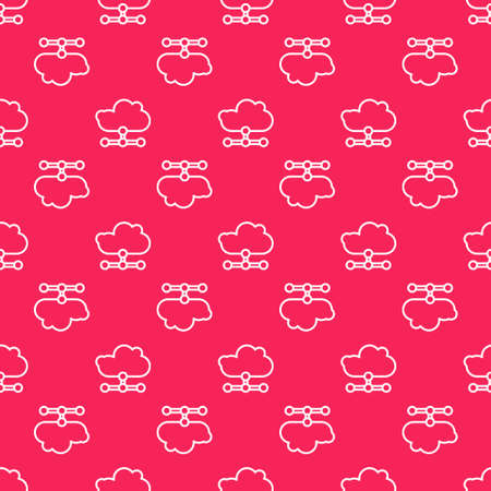 White line Network cloud connection icon isolated seamless pattern on red background. Social technology. Cloud computing concept. Vector Illustration. Ilustracja