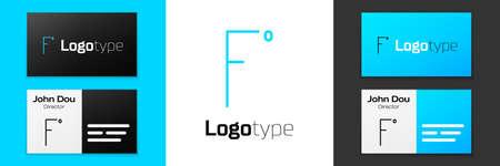 Grey line Fahrenheit icon isolated on white background.  Vector Illustration.