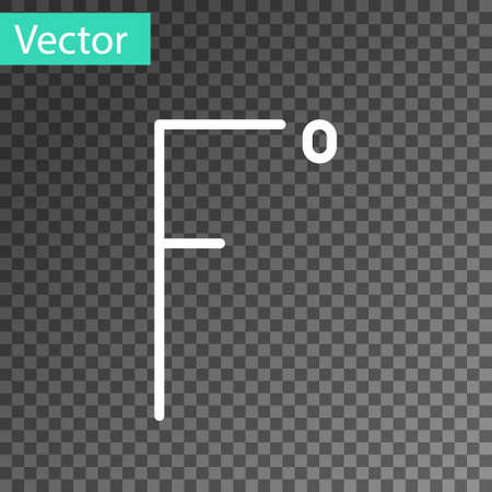 White line Fahrenheit icon isolated on transparent background.  Vector Illustration.