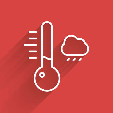 White line Meteorology thermometer measuring icon isolated with long shadow. Thermometer equipment showing hot or cold weather.  Vector Illustration.