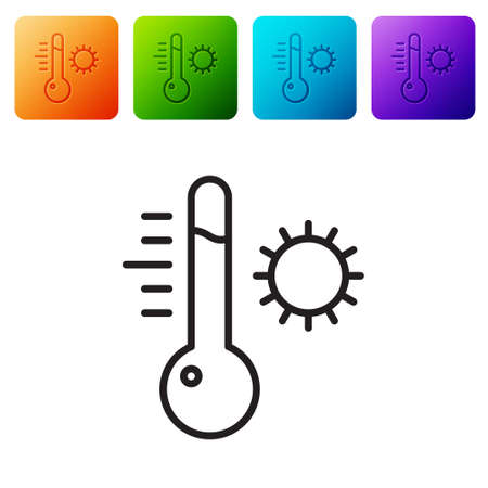 Black line Meteorology thermometer measuring icon isolated on white background. Thermometer equipment showing hot or cold weather. Set icons in color square buttons. Vector Illustration. Ilustrace