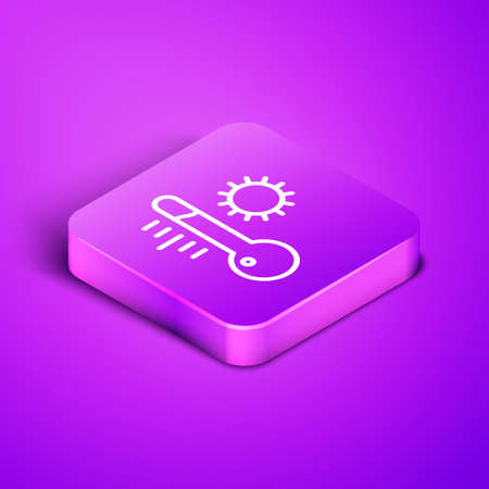 Isometric line Meteorology thermometer measuring icon isolated on purple background. Thermometer equipment showing hot or cold weather. Purple square button. Vector Illustration.