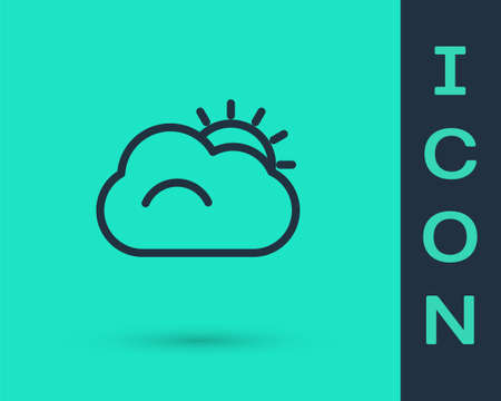 Black line Sun and cloud weather icon isolated on green background.  Vector Illustration.