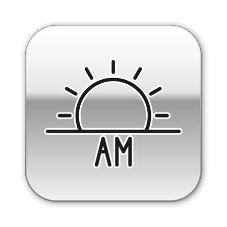 Black line Sunrise icon isolated on white background. Silver square button. Vector Illustration.