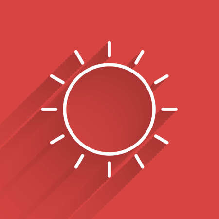 White line Sun icon isolated with long shadow. Summer symbol. Good sunny day.  Vector Illustration.