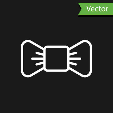White line Bow tie icon isolated on black background. Vector Illustration.
