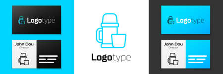 Grey line Thermo container and cup icon isolated on white background. Thermo flask icon. Camping and hiking equipment. Vector Illustration. Ilustrace