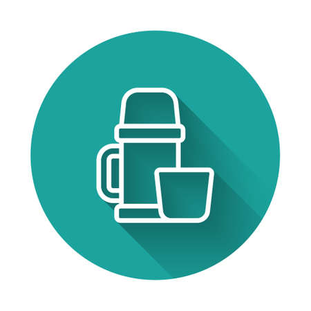 White line Thermo container and cup icon isolated with long shadow. Thermo flask icon. Camping and hiking equipment. Green circle button. Vector Illustration.