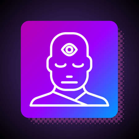 White line Man with third eye icon isolated on black background. The concept of meditation, vision of energy, aura. Square color button. Vector Illustration. Иллюстрация