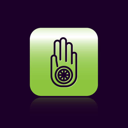 Black line Symbol of Jainism or Jain Dharma icon isolated on black background. Religious sign. Symbol of Ahimsa. Green square button. Vector Illustration. Иллюстрация