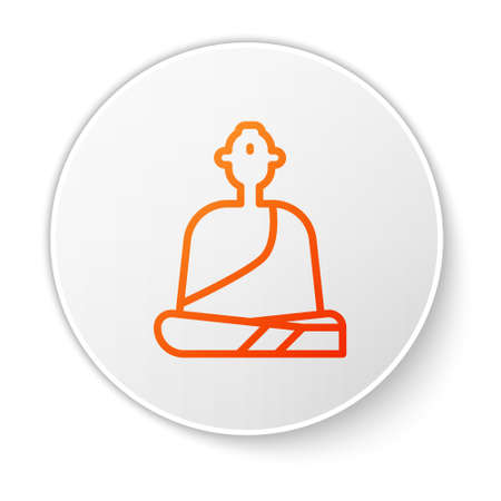 Orange line Buddhist monk in robes sitting in meditation icon isolated on white background. White circle button. Vector Illustration. Иллюстрация