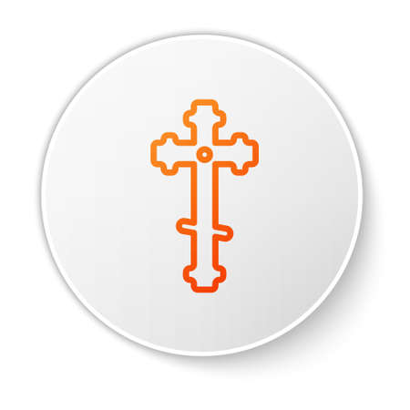 Orange line Christian cross icon isolated on white background. Church cross. White circle button. Vector Illustration. 向量圖像