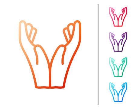Red line Hands in praying position icon isolated on white background. Prayer to god with faith and hope. Set color icons. Vector Illustration.