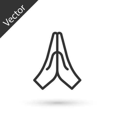 Grey line Hands in praying position icon isolated on white background. Prayer to god with faith and hope.  Vector Illustration.