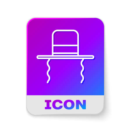 White line Orthodox jewish hat with sidelocks icon isolated on white background. Jewish men in the traditional clothing. Judaism symbols. Rectangle color button. Vector Illustration.