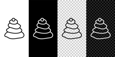 Set line Stack hot stones icon isolated on black and white background. Spa salon accessory.  Vector Illustration. 向量圖像