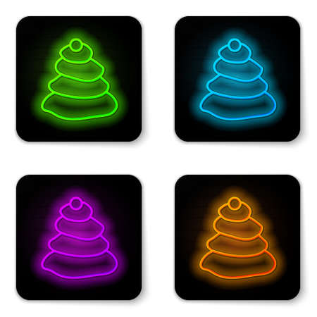 Glowing neon line Stack hot stones icon isolated on white background. Spa salon accessory. Black square button. Vector Illustration. 向量圖像