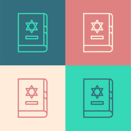 Pop art line Jewish torah book icon isolated on color background. On the cover of the Bible is the image of the Star of David. Vector Illustration.