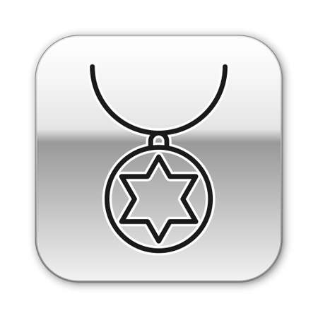 Black line Star of David necklace on chain icon isolated on white background. Jewish religion. Symbol of Israel. Jewellery and accessory. Silver square button. Vector Illustration. Illusztráció