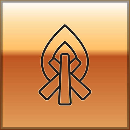 Black line Campfire icon isolated on gold background. Burning bonfire with wood. Vector Illustration.