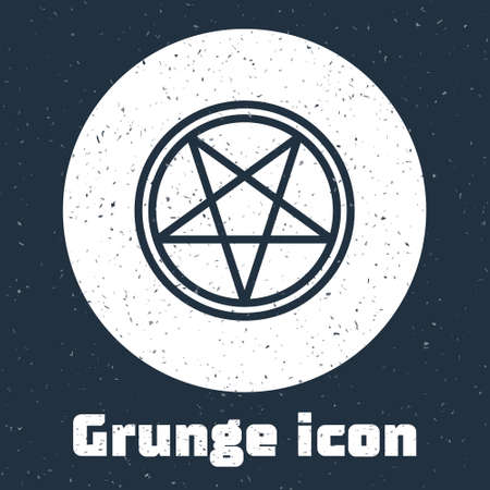 Grunge line Pentagram in a circle icon isolated on grey background. Magic occult star symbol. Monochrome vintage drawing. Vector Illustration.