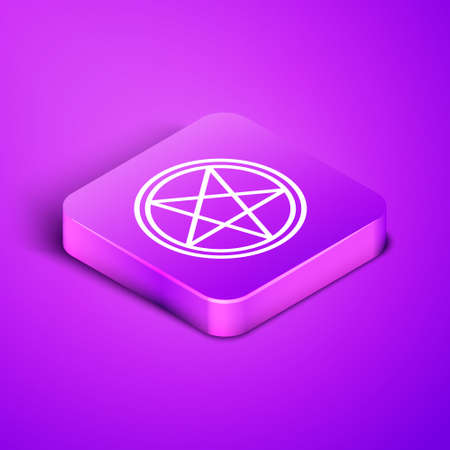 Isometric line Pentagram in a circle icon isolated on purple background. Magic occult star symbol. Purple square button. Vector Illustration.  イラスト・ベクター素材