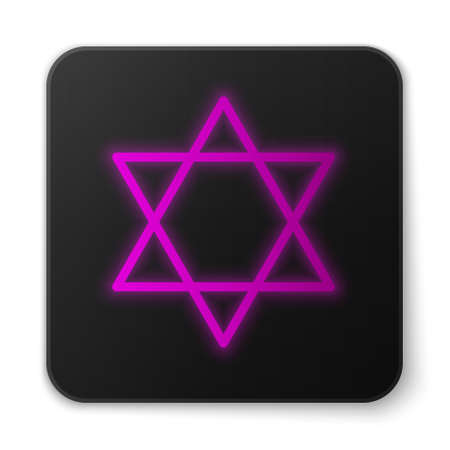 Glowing neon line Star of David icon isolated on white background. Jewish religion symbol. Symbol of Israel. Black square button. Vector Illustration.