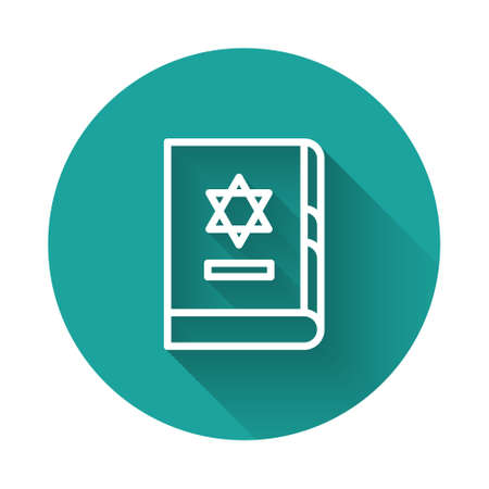 White line Jewish torah book icon isolated with long shadow. On the cover of the Bible is the image of the Star of David. Green circle button. Vector Illustration.