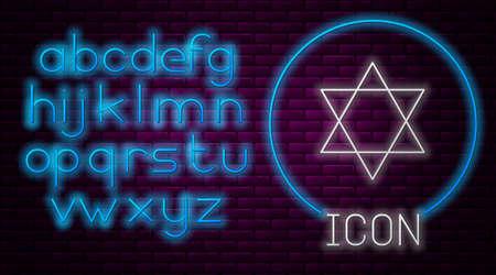 Glowing neon line Star of David icon isolated on brick wall background. Jewish religion symbol. Symbol of Israel. Neon light alphabet. Vector Illustration.