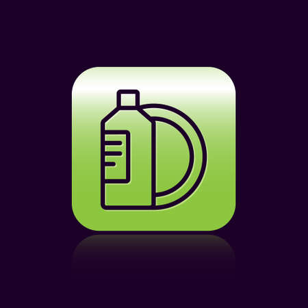 Black line Dishwashing liquid bottle and plate icon isolated on black background. Liquid detergent for washing dishes. Green square button. Vector Illustration.