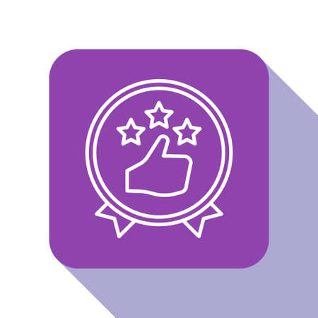White line Consumer or customer product rating icon isolated on white background. Purple square button. Vector Illustration.