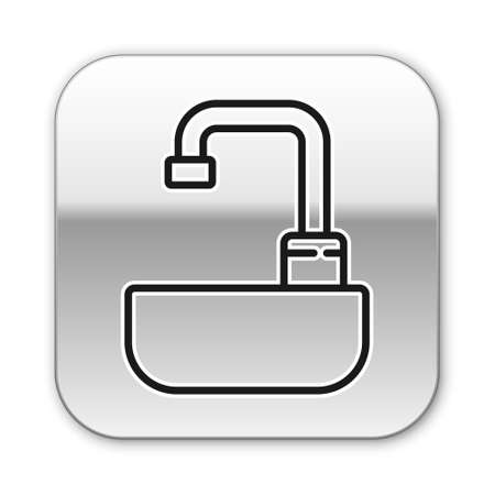 Black line Washbasin with water tap icon isolated on white background. Silver square button. Vector Illustration.