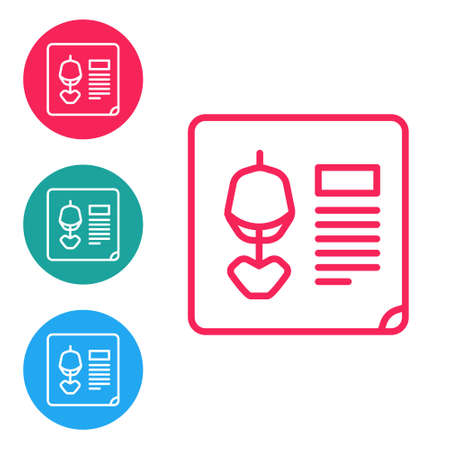 Red line X-ray shots icon isolated on white background. Set icons in circle buttons. Vector Illustration.