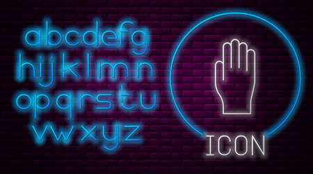 Glowing neon line Medical rubber gloves icon isolated on brick wall background. Protective rubber gloves. Neon light alphabet. Vector Illustration. Vectores